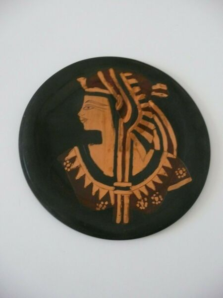 Small Brass Middle East Plate With Egyptian Face Nice Decorative Item 8quot; Round