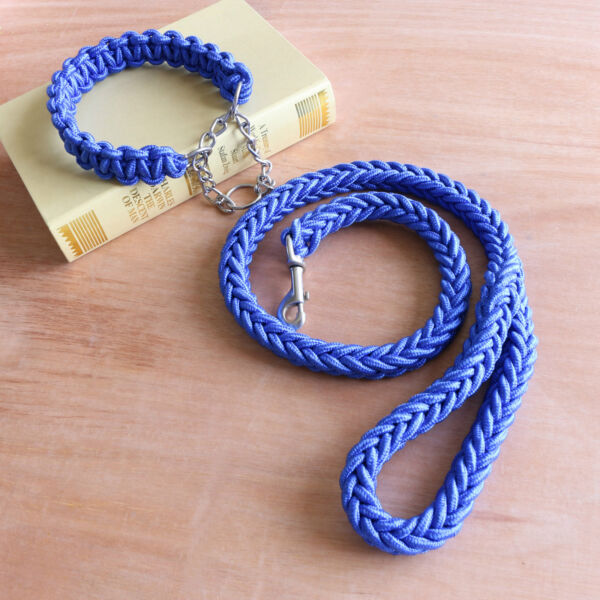 Pet Dog Collar Supplies Nylon Rope Eight strand Braided with Traction Rope Chain $13.99