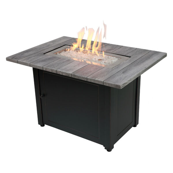 Mr BBQ Lp Firepit Bryson Faux Wood 45k btu 40quot; Patio Deck Fire Table with Insert