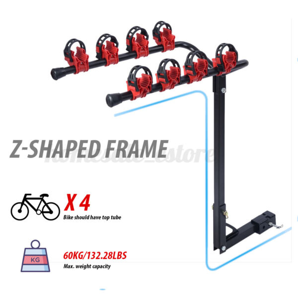 4 Bike Car SUV Truck Racks Hitch Mount Bicycle Carrier Rack Swing Down Receiver $76.28
