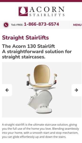 Acorn 130 Stair lift Chair lift Perfect condition.