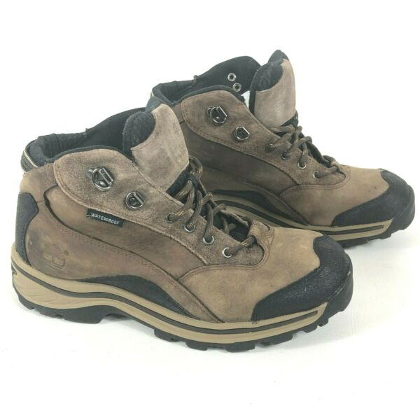 TIMBERLAND Boys 4.5 Hiking Boots Brown Leather Lug Soles 66932M $39.95