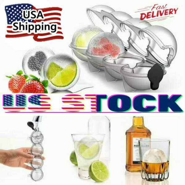 4 Large Ice Ball Maker Cube Tray Big Silicone Mold Sphere Whiskey Round Mould QF $8.39