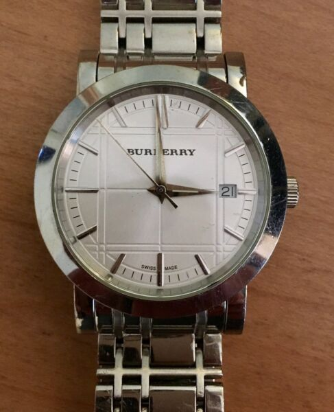 Burberry Men#x27;s Heritage silver stainless BU1350 $104.95