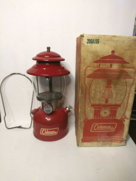 Vintage COLEMAN Single Mantle Lantern 200A195 Red In Original Box Ex Cond. 1973