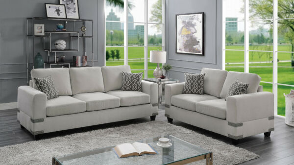 Living Room Furniture Sofa And Loveseat Family Couch Pillows 2pcs Set Mushroom $1275.00