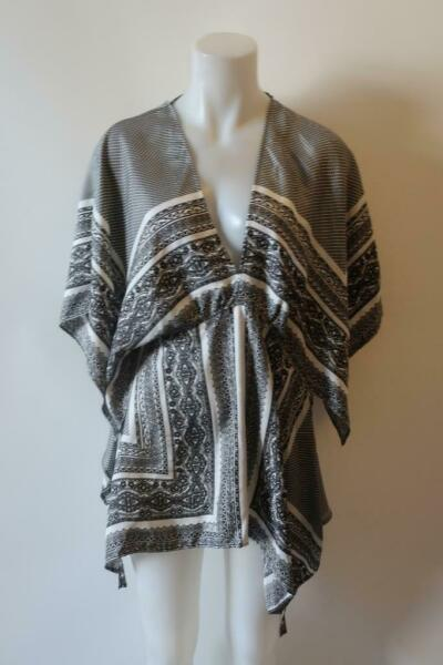 WOMENS ETRO BLACK WHITE SILK V NECK TUNIC TOP 44 US 8 * $59.99