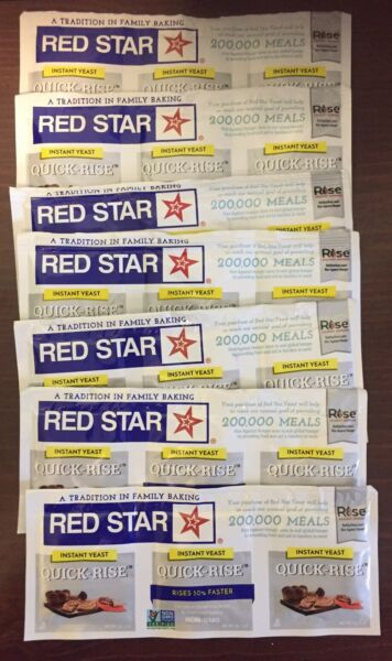 Red Star Quick Rise Instant Yeast for Bread Machines amp; Baking 8 Strips of 3