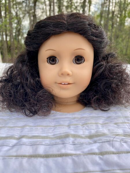 American Girl Doll Head Light Skin With Dark Very Curly Cecile wig
