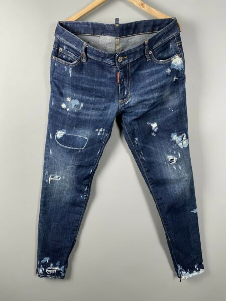 Dsquared2 Men#x27;s Distressed Blue Denim Jeans Pants Painted Icon Sz 44 W36 L30 GBP 109.00