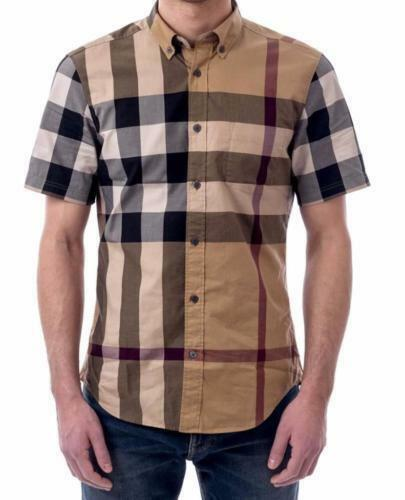Burberry brit mens fred camel short sleeve button down check shirt smlxl $139.99