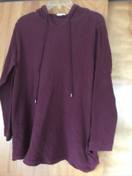 J Jill purejill Women#x27;s Hoodie Long Top Tunic Cover Up W Pockets Lg Cotton