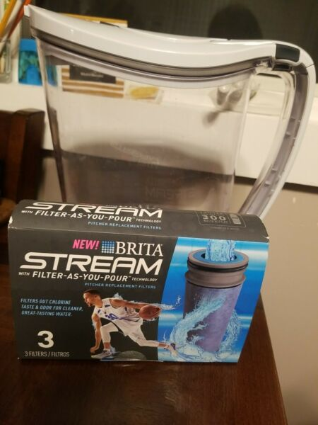 Brita Water Filter Pitcher 10 Cup Purifier • Filter as You Pour • Stream • White