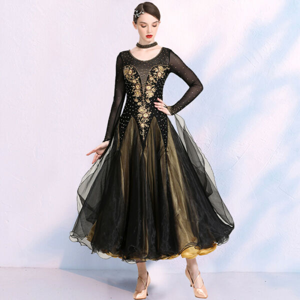 Latin Ballroom Dance Dress Modern Salsa Waltz Standard Long Dress#N119 2 Colors