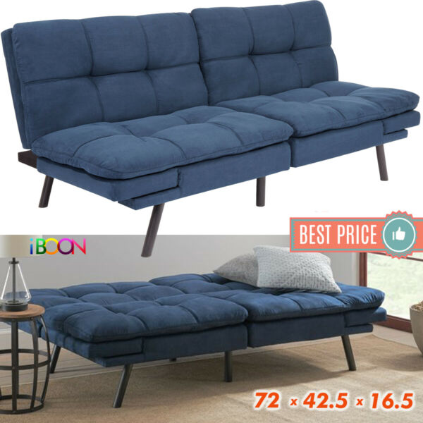 Memory Foam Futon Sofa Bed Couch Sleeper Convertible Foldable Loveseat FULL Navy