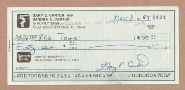 Gary Carter Autographed Signed Check The Kid Hall of Fame 1989