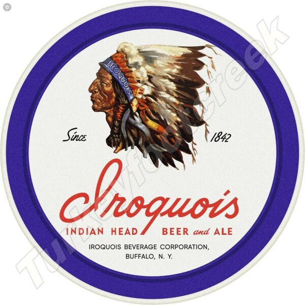 IROQUOIS BEER amp; ALE 11.75quot; ROUND METAL SIGN