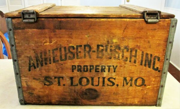 Vintage Wooden Anheuser Busch Beer Crate with hinged Lid
