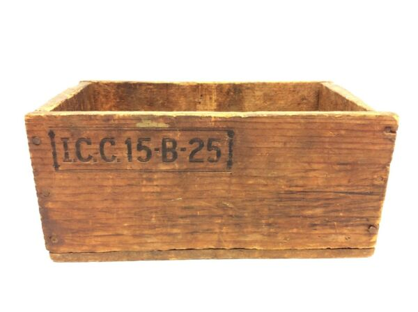 Antique I.C.C. 15 B 25 Small Wood Wooden Crate Box Decorative Container Old