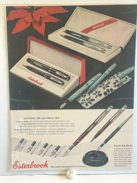 Vintage 1940s Esterbrook 🖊 Pen 🖊 Ad Great Graphic One Day Shipping Pens 👍