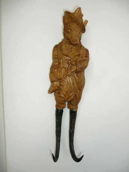 BLACK FOREST FIGURAL CARVED WOOD WHIP HATCOAT WALL HOOK of a FOX as A HUNTER