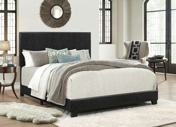 Crown Mark Erin Faux Leather Bed Black Queen $112.95