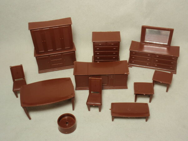Vintage Wolverine Dollhouse Plastic Furniture Brown Color *USED* $19.00