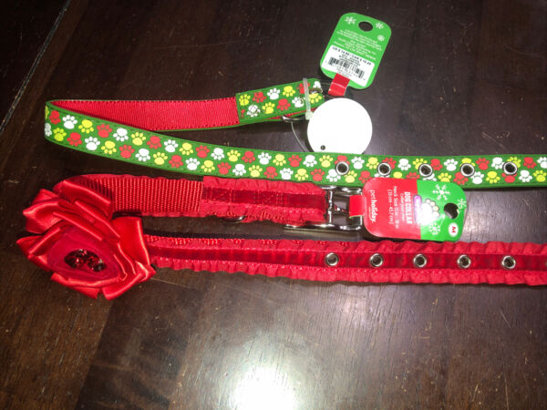 Top Paw Christmas Collars Lot of 2 M NEW; 1 Bow amp; Bells Easy Clean Pawprints $19.99