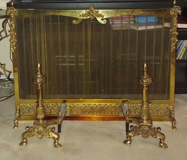 Was $895 French Provincial Style Pierced Brass Fireplace Mesh Screen w Andirons