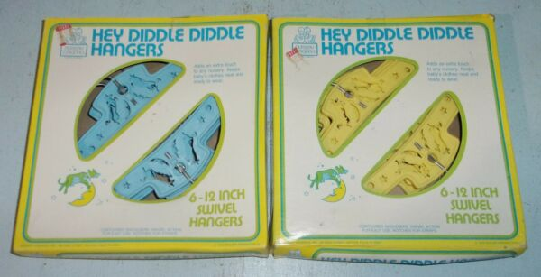 2 Vintage Boxes of 6 Each Hey Diddle Diddle Baby Clothes Hangers Blue amp; Yellow