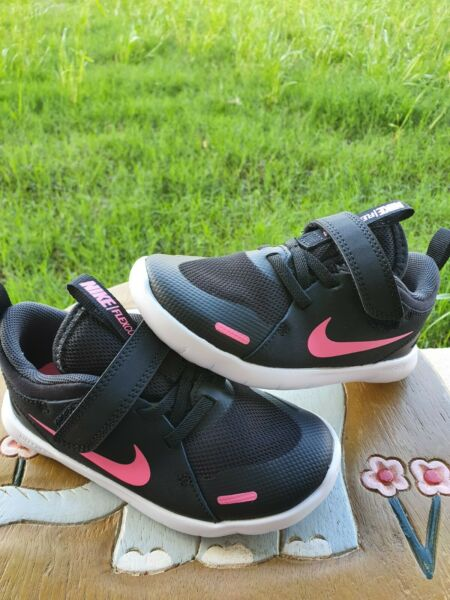 Nike Flex Contact 4 Black Pink Girls#x27; BRAND NEW Toddler 10C $32.00