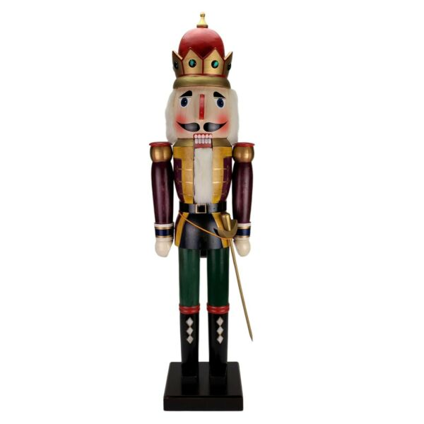 42quot; Inch Large Wood King Nutcracker With Working Mouth Lever