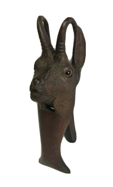 Antique Black Forest Chamois Alpine Mountain Goat Nutcracker Glass Eyes