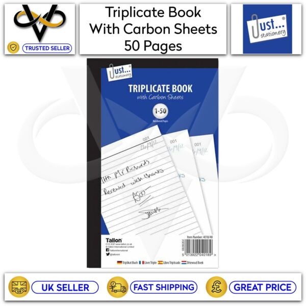 Just Stationery A5 Triplicate Book With Carbon Sheets 50 Numbered Pages GBP 3.25