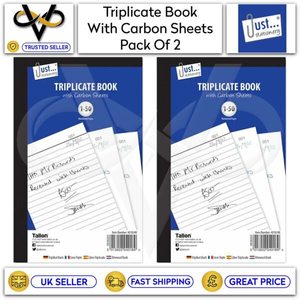 2 x Just Stationery A5 Triplicate Book With Carbon Sheets 50 Numbered Pages GBP 4.95