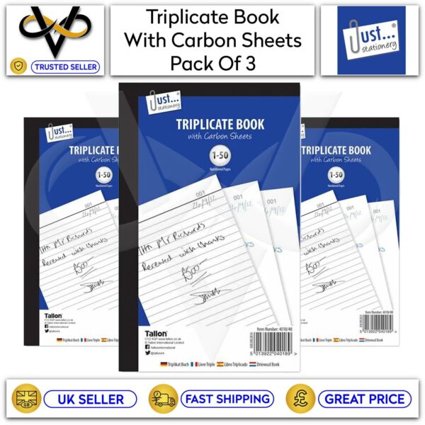 3 x Just Stationery A5 Triplicate Book With Carbon Sheets 50 Numbered Pages GBP 6.95