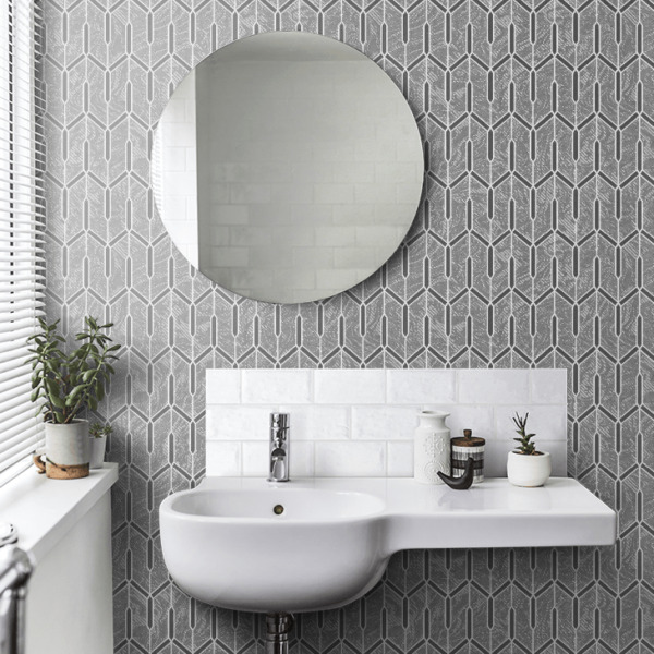 Charcoal gray silver metallic faux carbon textured Wallpaper Geometric lines 3D $3.50