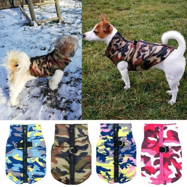 Winter Pet Dog Waterproof Coats Clothes Camouflage Pet Warm Harness Jackets Coat $13.99