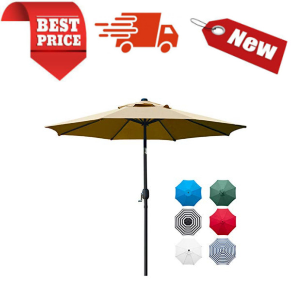9#x27; Patio Umbrella Outdoor Table Umbrella with 8 Sturdy Ribs With Tan Color $63.55