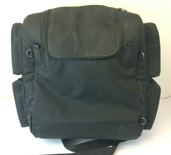 Used T Bags Black Zippered Canvas Motorcycle Pack Bag Luggage USA $144.99