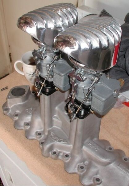 Two Thickstun Finned Air Cleaners Flathead Ford Mercury V8 Hot Rod Stromberg $210.00