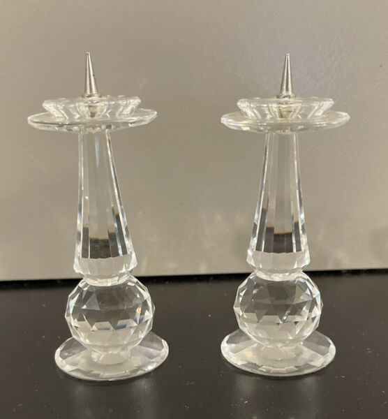 Vtg 1980s Crystal Mini Stick Pin Candlestick Holder Duo Home Ornament $14.99