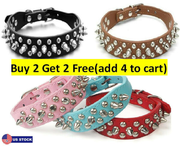 Small Dog Spiked Studded Rivets Dog Pet Faux PU Leather Collar Toys XS S M US $10.95