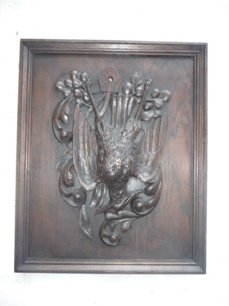 ANTIQUE BLACK FOREST OAK WOOD HUNT THEMED WALL PLAQUE GAME BIRD 1 of a PAIR