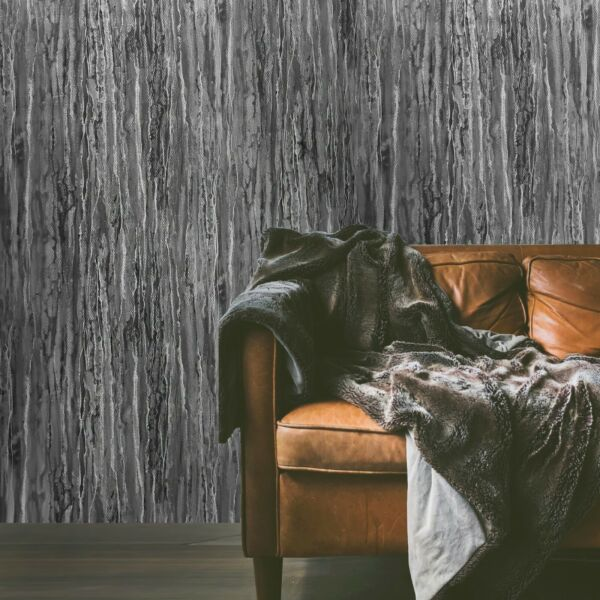 Modern Wallpaper gray black textured industrial rusted faux carbon fiber plaster $3.50