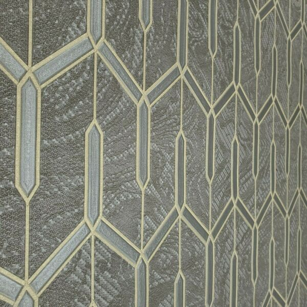 Charcoal gray gold metallic faux carbon textured Wallpaper Geometric lines 3D $3.50