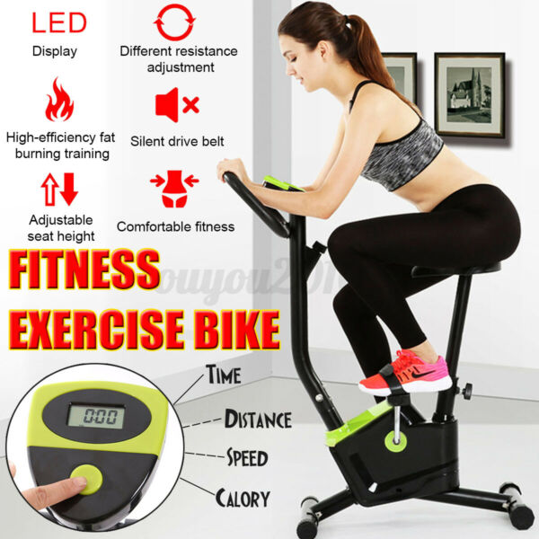 Exercise Bike Fitness Gym Indoor Cycling Stationary Bicycle Cardio Workout w LCD $84.54