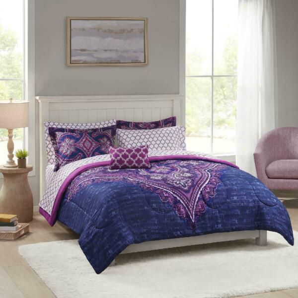 Mainstays Grace Medallion Purple Bed in a Bag Complete Bedding King NEW $52.67