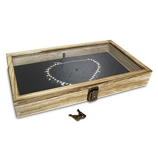 Wood Glass Top Jewelry Display Case Wooden Jewelry Tray for Collectibles Oak $29.61
