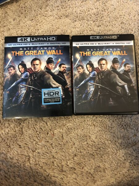 The Great Wall 4K UHD Blu ray Digital Copy Sheet 2017 w Excellent Slipcover $24.99